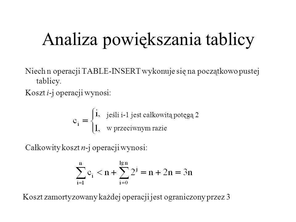 Analiza powiększania tablicy Niech n operacji TABLE-INSERT wykonuje się na początkowo pustej tablicy. Koszt i-j operacji wynosi: jeśli i-1 jest całkow