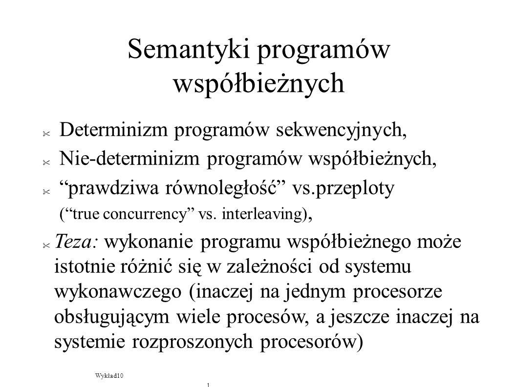 Semantyki programów współbieżnych Determinizm programów sekwencyjnych, Nie-determinizm programów współbieżnych, prawdziwa równoległość vs.przeploty (true concurrency vs.