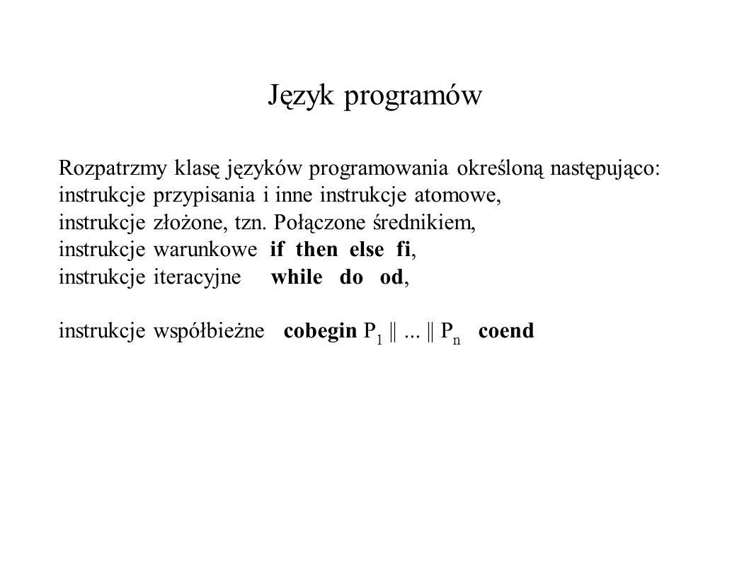Przykład 1 cobegin p:= 0    q:=1; p:=q coend P:= 0 Q:=1 Cobegin P Q p:=q Coend