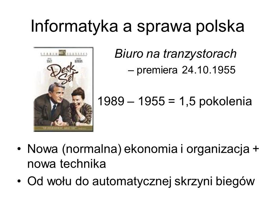 Informatyka a sprawa polska Biuro na tranzystorach –premiera 24.10.1955 1989 – 1955 = 1,5 pokolenia Nowa (normalna) ekonomia i organizacja + nowa tech