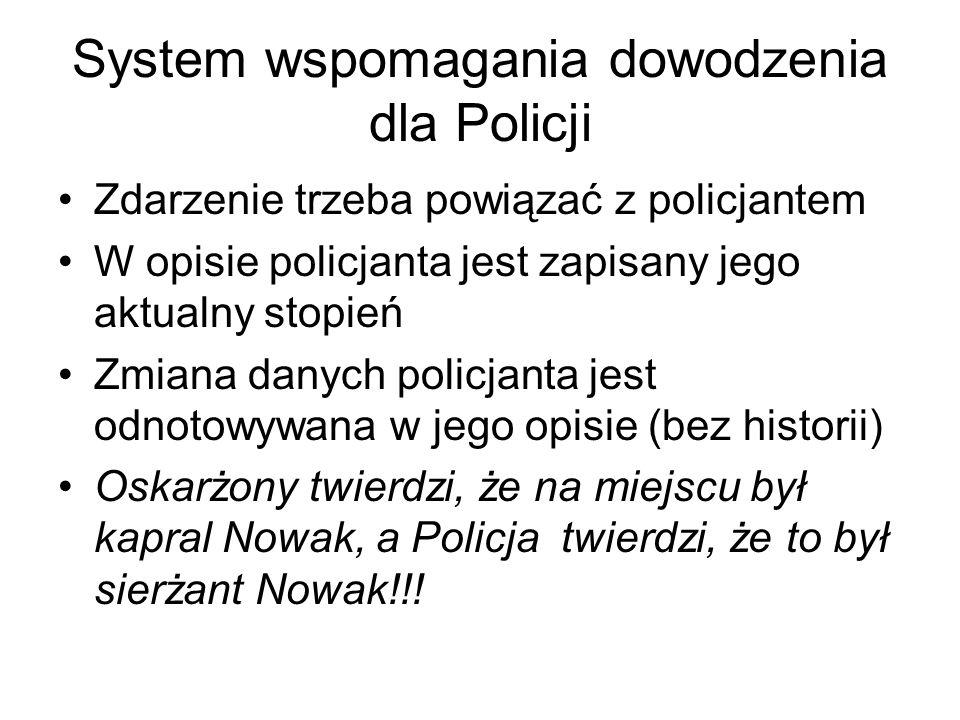System wspomagania dowodzenia dla Policji Zdarzenie trzeba powiązać z policjantem W opisie policjanta jest zapisany jego aktualny stopień Zmiana danyc