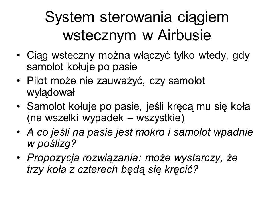 System sterowania ciągiem wstecznym w Airbusie Ciąg wsteczny można włączyć tylko wtedy, gdy samolot kołuje po pasie Pilot może nie zauważyć, czy samol
