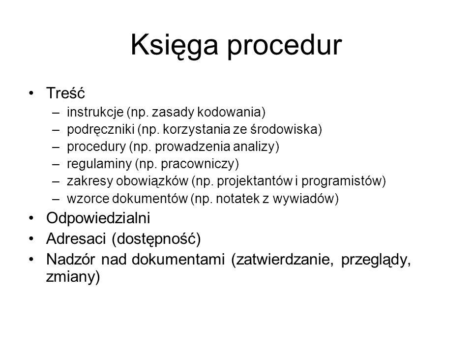 Księga procedur Treść –instrukcje (np. zasady kodowania) –podręczniki (np. korzystania ze środowiska) –procedury (np. prowadzenia analizy) –regulaminy