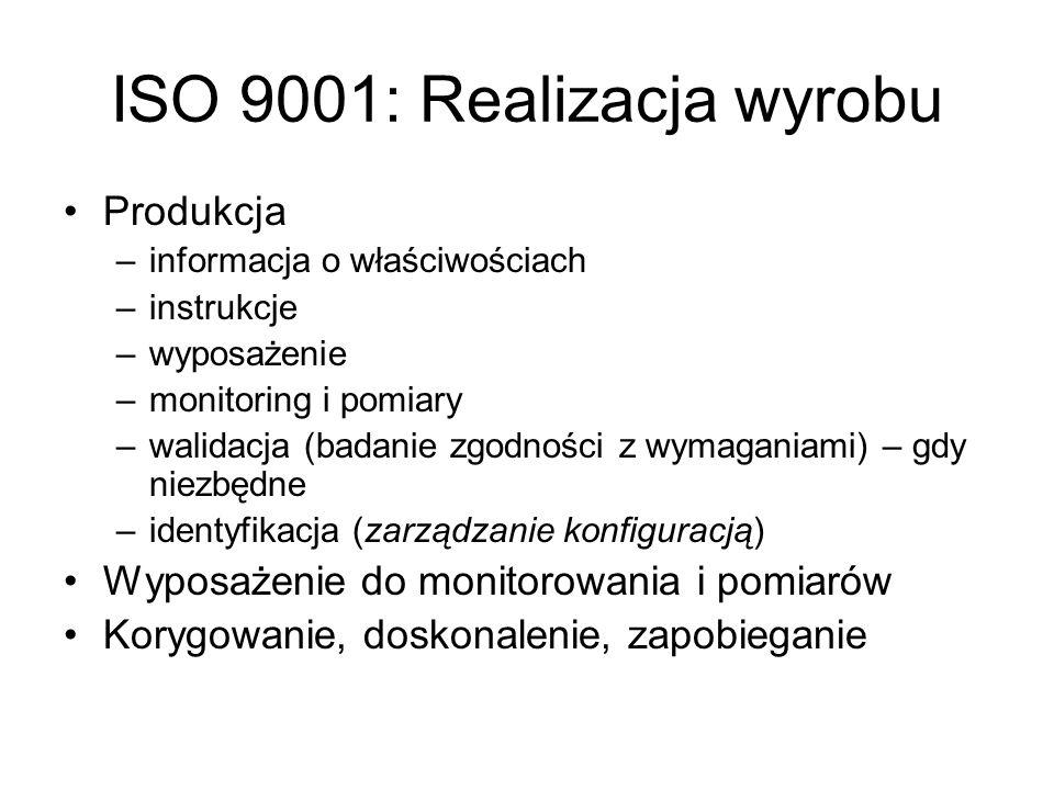 ISO 9001: Realizacja wyrobu Produkcja –informacja o właściwościach –instrukcje –wyposażenie –monitoring i pomiary –walidacja (badanie zgodności z wyma
