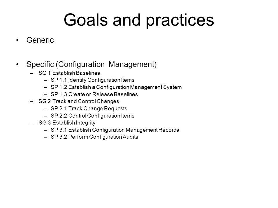 Goals and practices Generic Specific (Configuration Management) –SG 1 Establish Baselines –SP 1.1 Identify Configuration Items –SP 1.2 Establish a Con