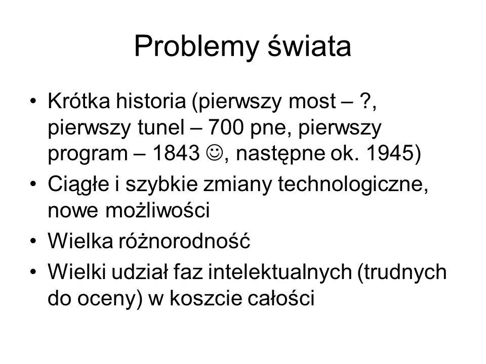 Problemy świata Krótka historia (pierwszy most – ?, pierwszy tunel – 700 pne, pierwszy program – 1843, następne ok. 1945) Ciągłe i szybkie zmiany tech
