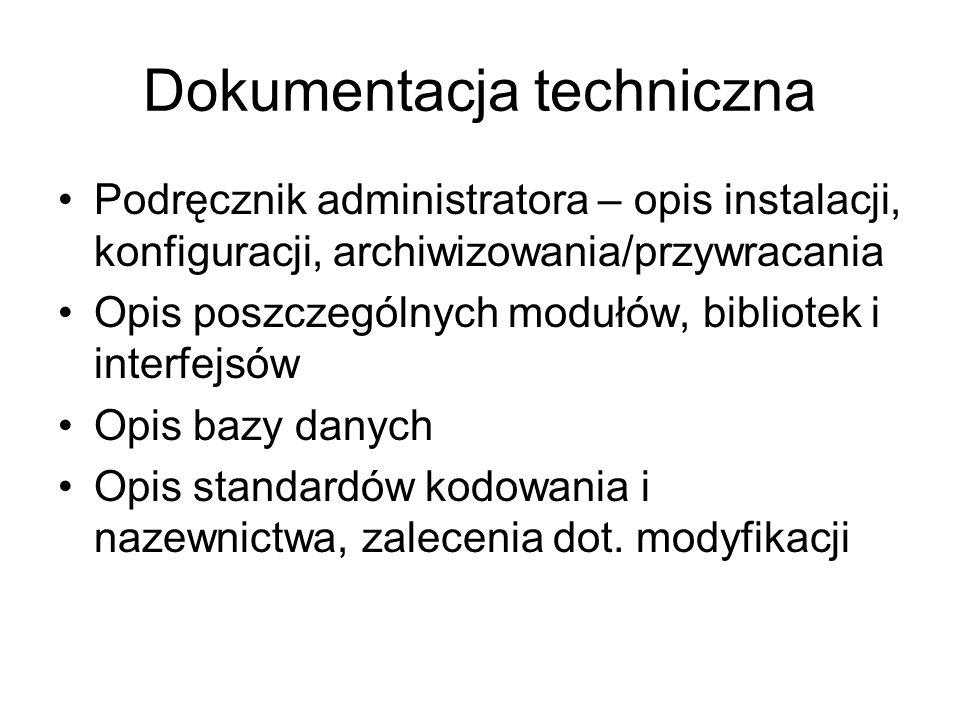 Dokumentacja techniczna Podręcznik administratora – opis instalacji, konfiguracji, archiwizowania/przywracania Opis poszczególnych modułów, bibliotek