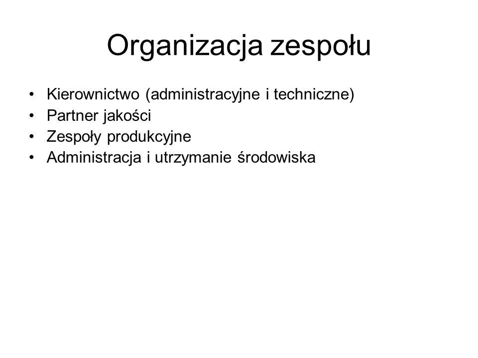 Organizacja zespołu Kierownictwo (administracyjne i techniczne) Partner jakości Zespoły produkcyjne Administracja i utrzymanie środowiska