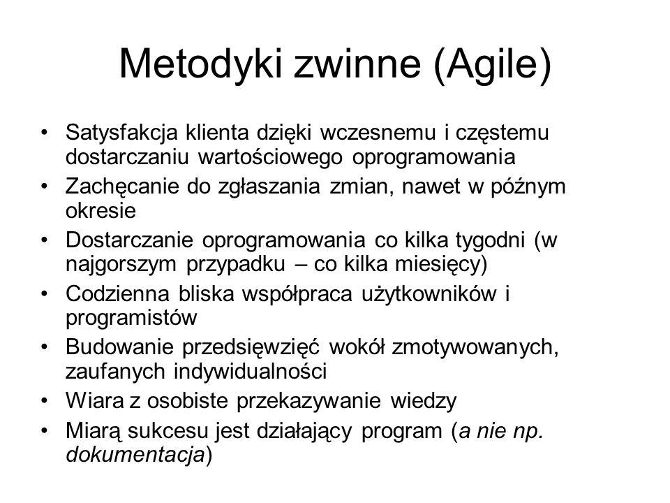 Metodyki zwinne (Agile) Satysfakcja klienta dzięki wczesnemu i częstemu dostarczaniu wartościowego oprogramowania Zachęcanie do zgłaszania zmian, nawe