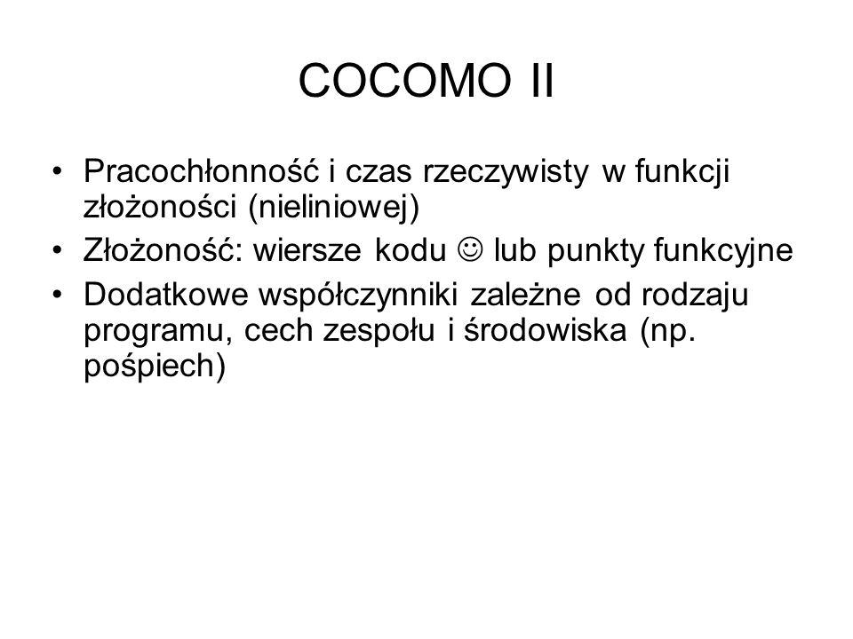 COCOMO II Pracochłonność i czas rzeczywisty w funkcji złożoności (nieliniowej) Złożoność: wiersze kodu lub punkty funkcyjne Dodatkowe współczynniki za
