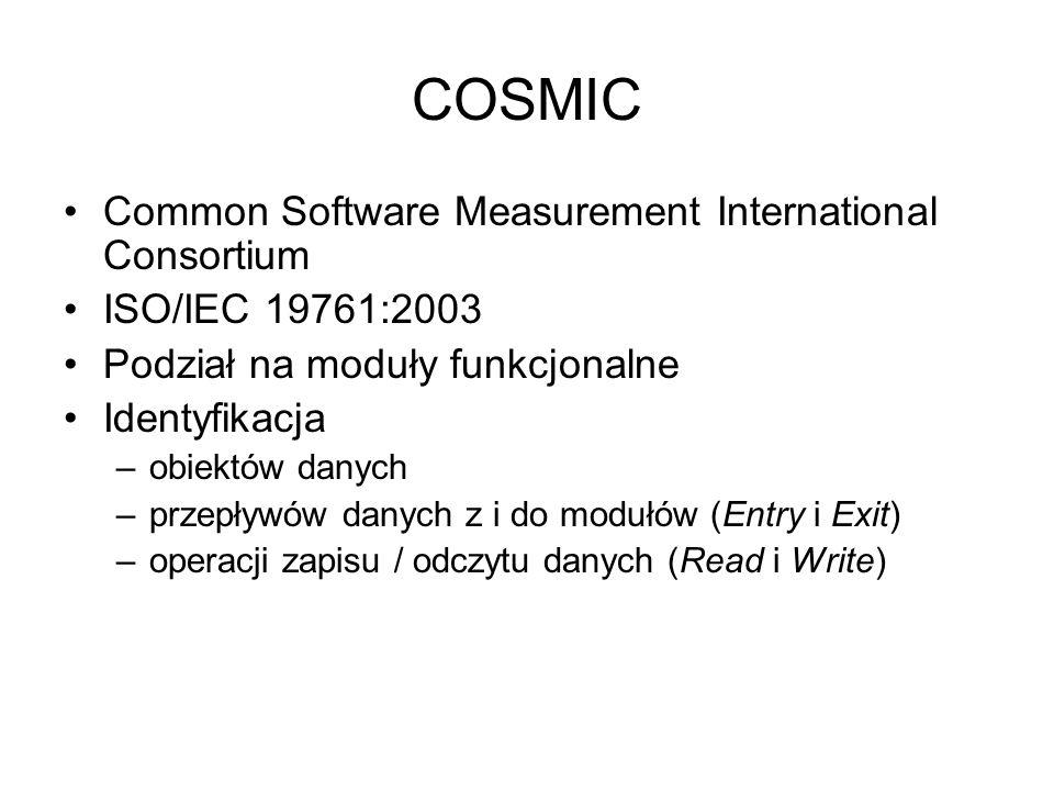 COSMIC Common Software Measurement International Consortium ISO/IEC 19761:2003 Podział na moduły funkcjonalne Identyfikacja –obiektów danych –przepływ