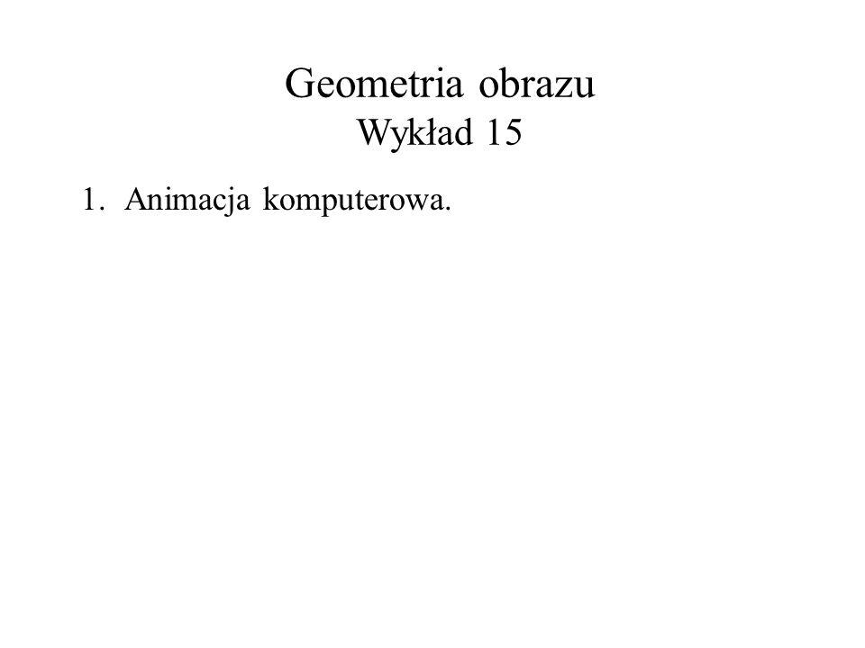 Geometria obrazu Wykład 15 1.Animacja komputerowa.