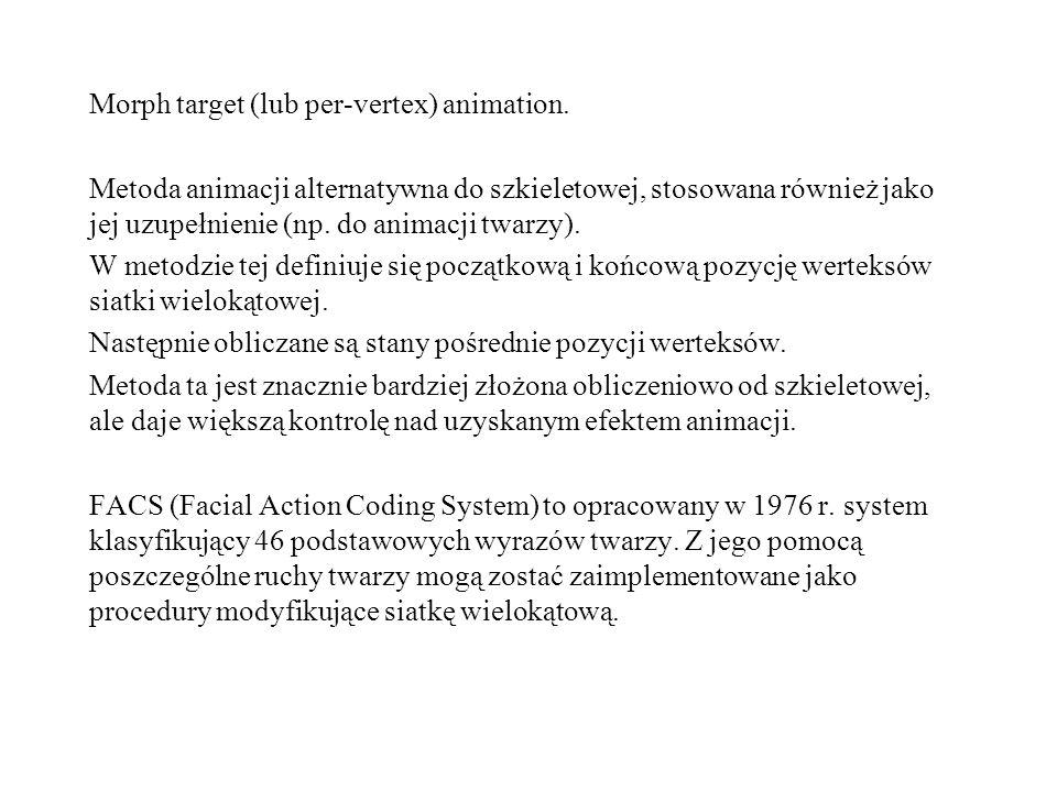 Morph target (lub per-vertex) animation. Metoda animacji alternatywna do szkieletowej, stosowana również jako jej uzupełnienie (np. do animacji twarzy