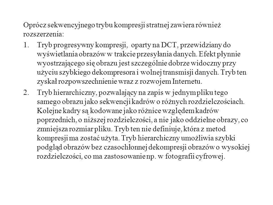Oprócz sekwencyjnego trybu kompresji stratnej zawiera również rozszerzenia: 1.Tryb progresywny kompresji, oparty na DCT, przewidziany do wyświetlania