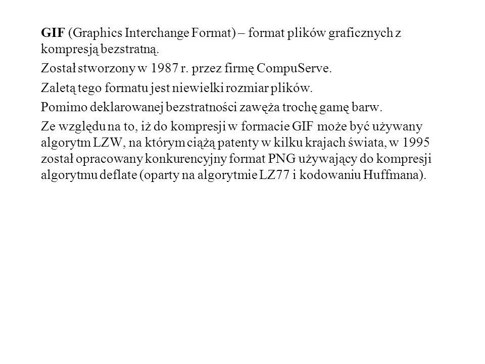 GIF (Graphics Interchange Format) – format plików graficznych z kompresją bezstratną. Został stworzony w 1987 r. przez firmę CompuServe. Zaletą tego f