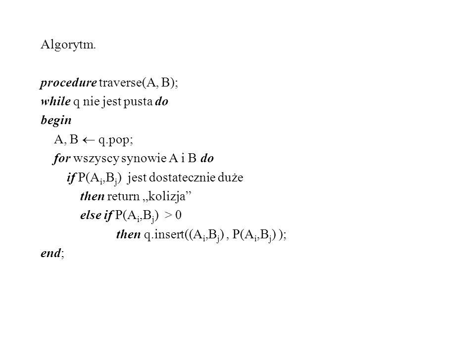 Algorytm. procedure traverse(A, B); while q nie jest pusta do begin A, B q.pop; for wszyscy synowie A i B do if P(A i,B j ) jest dostatecznie duże the