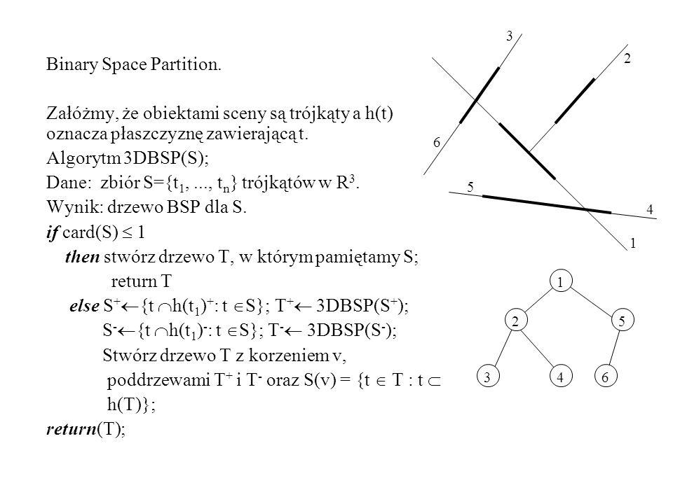 6 6 5 5 4 4 3 3 2 2 Binary Space Partition. Załóżmy, że obiektami sceny są trójkąty a h(t) oznacza płaszczyznę zawierającą t. Algorytm 3DBSP(S); Dane: