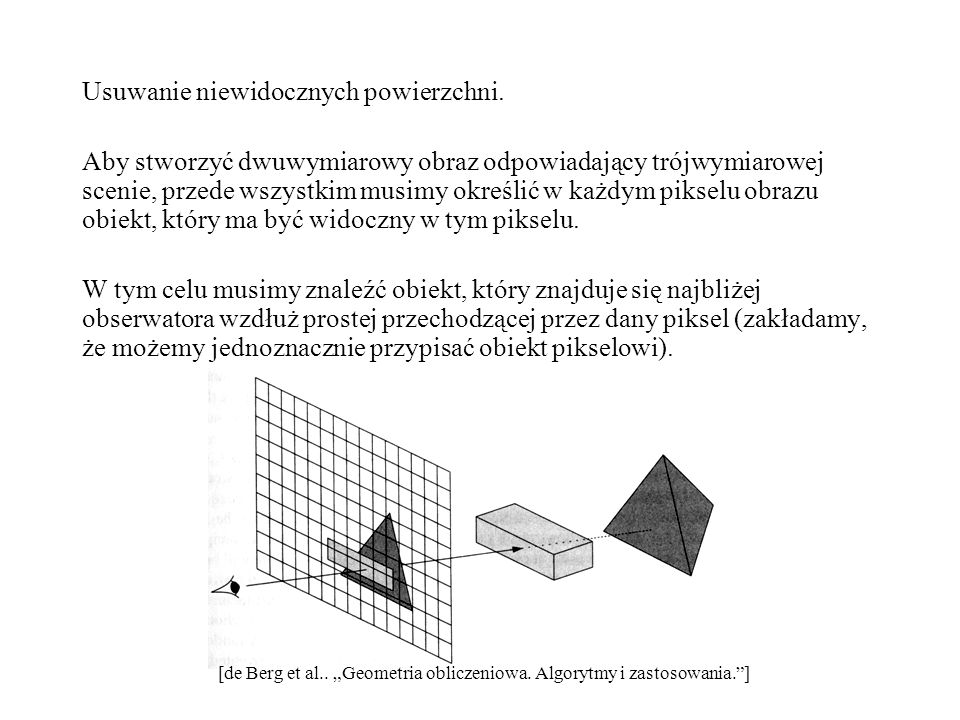 Usuwanie niewidocznych powierzchni. Aby stworzyć dwuwymiarowy obraz odpowiadający trójwymiarowej scenie, przede wszystkim musimy określić w każdym pik
