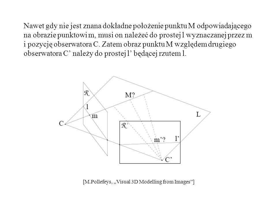 Nawet gdy nie jest znana dokładne położenie punktu M odpowiadającego na obrazie punktowi m, musi on należeć do prostej l wyznaczanej przez m i pozycję