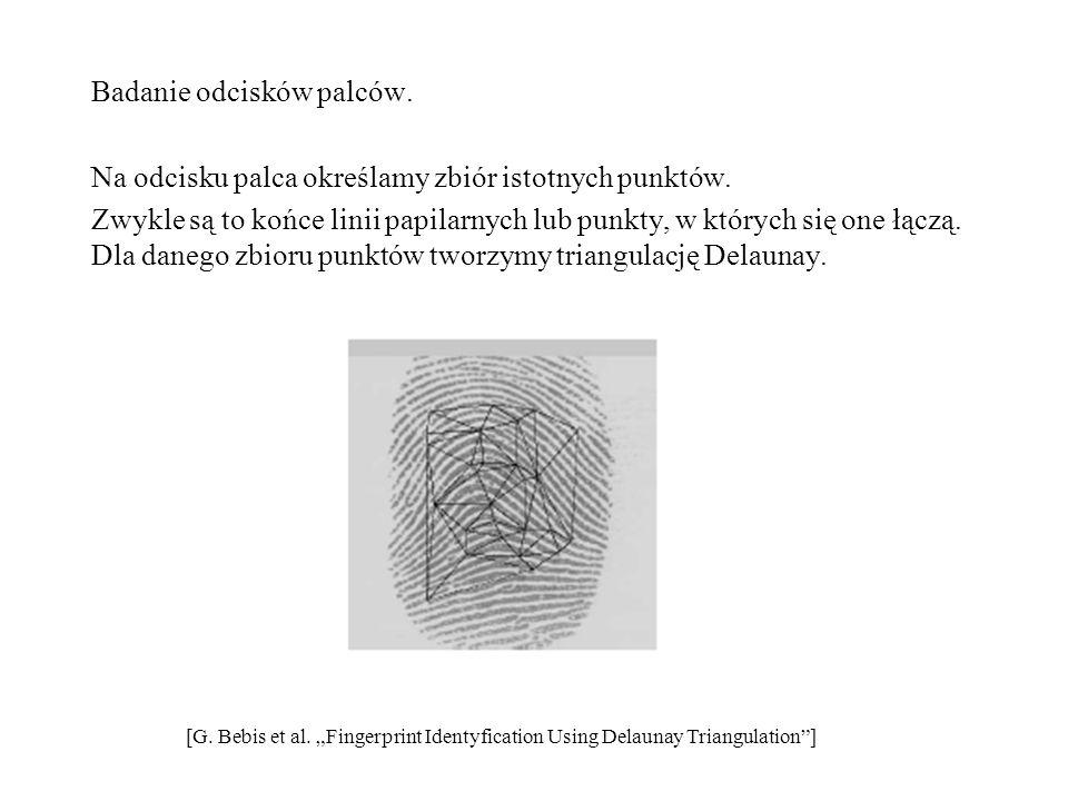 Badanie odcisków palców. Na odcisku palca określamy zbiór istotnych punktów. Zwykle są to końce linii papilarnych lub punkty, w których się one łączą.
