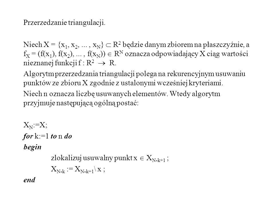 W wyniku działania tego algorytmu otrzymujemy ciąg zbiorów punktów wyznaczających kolejne triangulacje: X N-n...