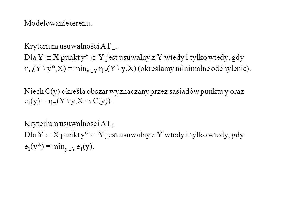 Modelowanie terenu. Kryterium usuwalności AT. Dla Y X punkt y* Y jest usuwalny z Y wtedy i tylko wtedy, gdy (Y \ y*,X) = min y Y (Y \ y,X) (określamy