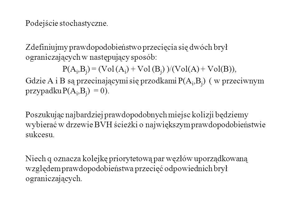 Podejście stochastyczne. Zdefiniujmy prawdopodobieństwo przecięcia się dwóch brył ograniczających w następujący sposób: P(A i,B j ) = (Vol (A i ) + Vo