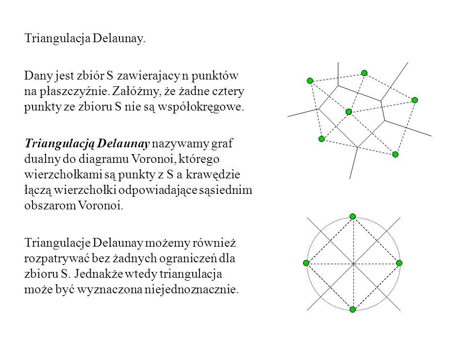 Triangulacja Delaunay. Dany jest zbiór S zawierajacy n punktów na płaszczyźnie. Załóżmy, że żadne cztery punkty ze zbioru S nie są współokręgowe. Tria
