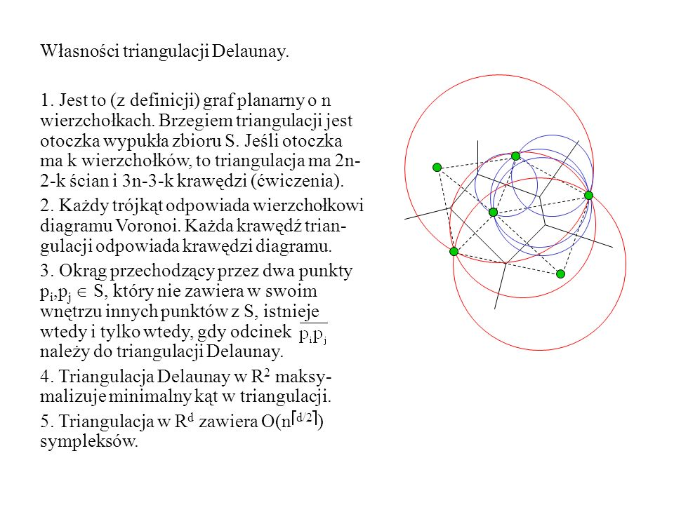Własności triangulacji Delaunay. 1. Jest to (z definicji) graf planarny o n wierzchołkach. Brzegiem triangulacji jest otoczka wypukła zbioru S. Jeśli