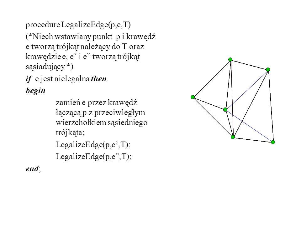 procedure LegalizeEdge(p,e,T) (*Niech wstawiany punkt p i krawędź e tworzą trójkąt należący do T oraz krawędzie e, e i e tworzą trójkąt sąsiadujący *)