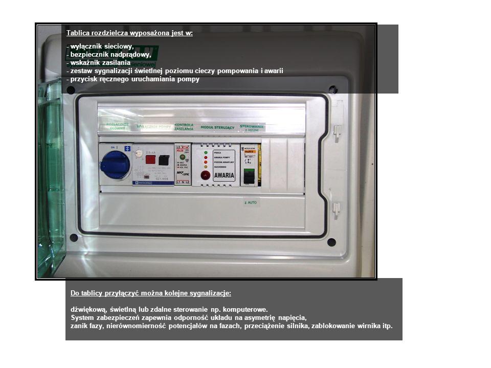 Tablica rozdzielcza wyposażona jest w: - wyłącznik sieciowy, - bezpiecznik nadprądowy, - wskaźnik zasilania - zestaw sygnalizacji świetlnej poziomu cieczy pompowania i awarii - przycisk ręcznego uruchamiania pompy Do tablicy przyłączyć można kolejne sygnalizacje: dźwiękową, świetlną lub zdalne sterowanie np.