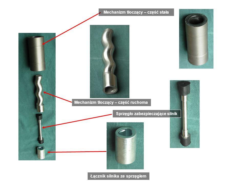 Mechanizm tłoczący ślimakowy Łącznik silnika ze sprzęgłem Sprzęgło zabezpieczające silnik Mechanizm tłoczący – część ruchoma Mechanizm tłoczący – częś