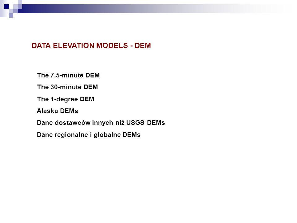 The 7.5-minute DEM The 30-minute DEM The 1-degree DEM Alaska DEMs Dane dostawców innych niż USGS DEMs Dane regionalne i globalne DEMs DATA ELEVATION M