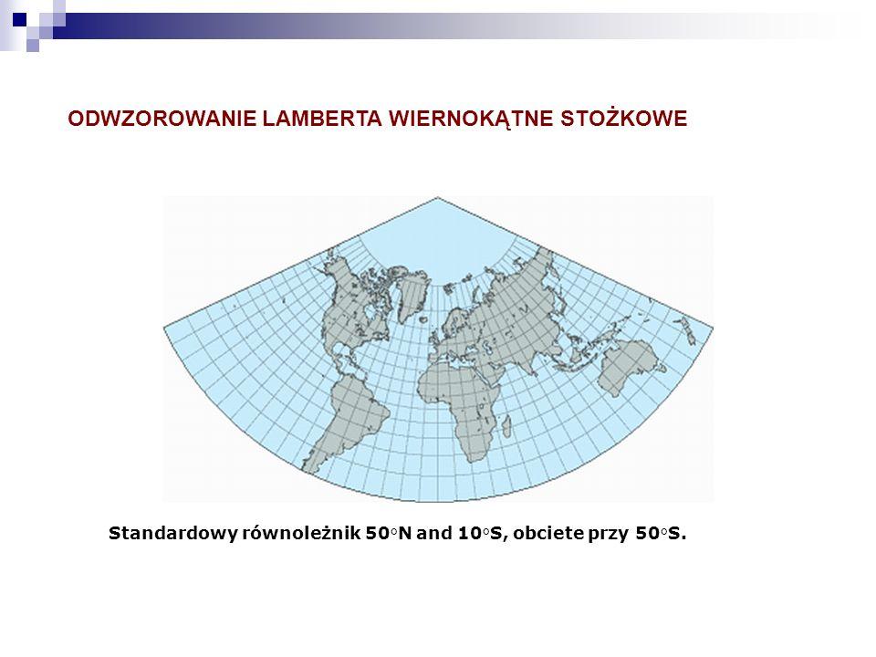 ODWZOROWANIE LAMBERTA WIERNOKĄTNE STOŻKOWE Standardowy równoleżnik 50°N and 10°S, obciete przy 50°S.