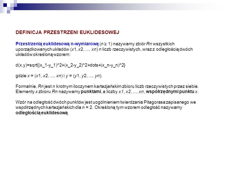 DEFINICJA PRZESTRZENI EUKLIDESOWEJ Przestrzenią euklidesową n-wymiarową (n 1) nazywamy zbiór Rn wszystkich uporządkowanych układów (x1, x2,..., xn) n