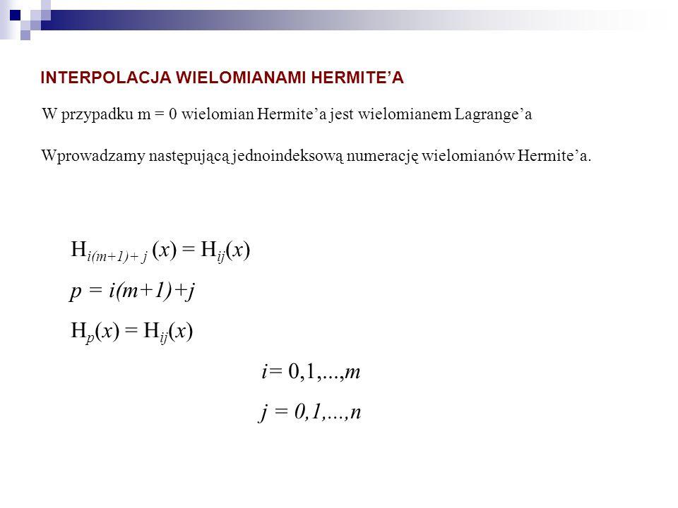 W przypadku m = 0 wielomian Hermitea jest wielomianem Lagrangea Wprowadzamy następującą jednoindeksową numerację wielomianów Hermitea. H i(m+1)+ j (x)