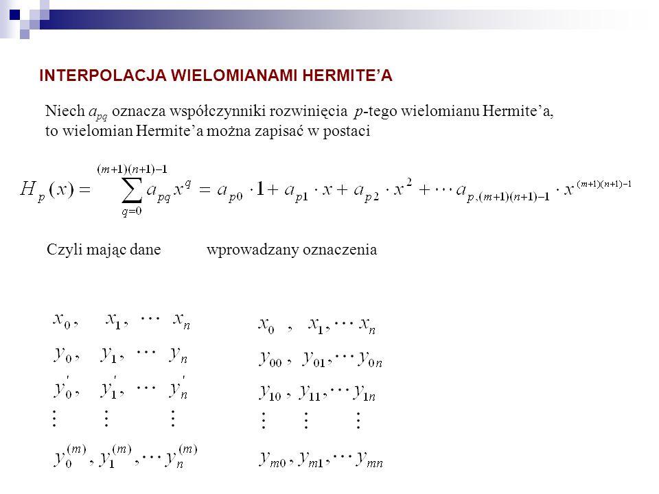 Niech a pq oznacza współczynniki rozwinięcia p-tego wielomianu Hermitea, to wielomian Hermitea można zapisać w postaci Czyli mając dane wprowadzany oz