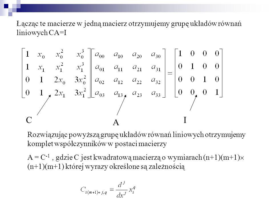 Łącząc te macierze w jedną macierz otrzymujemy grupę układów równań liniowych CA=I C A I Rozwiązując powyższą grupę układów równań liniowych otrzymuje
