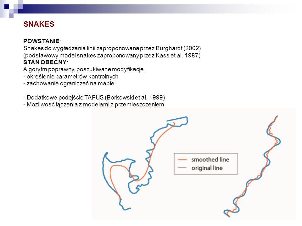 SNAKES POWSTANIE: Snakes do wygładzania linii zaproponowana przez Burghardt (2002) (podstawowy model snakes zaproponowany przez Kass et al. 1987) STAN