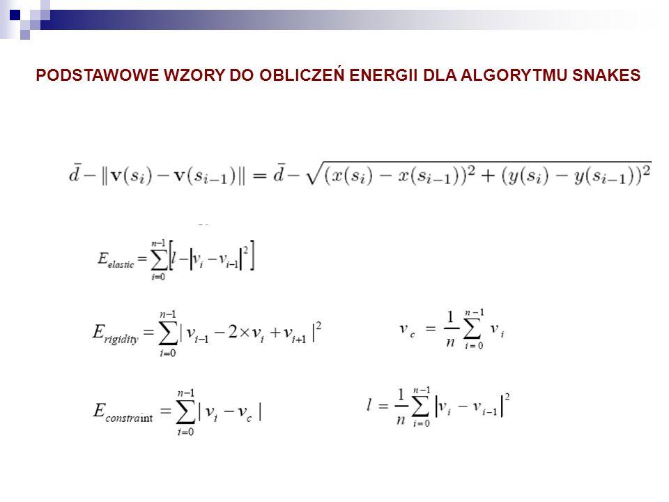 PODSTAWOWE WZORY DO OBLICZEŃ ENERGII DLA ALGORYTMU SNAKES
