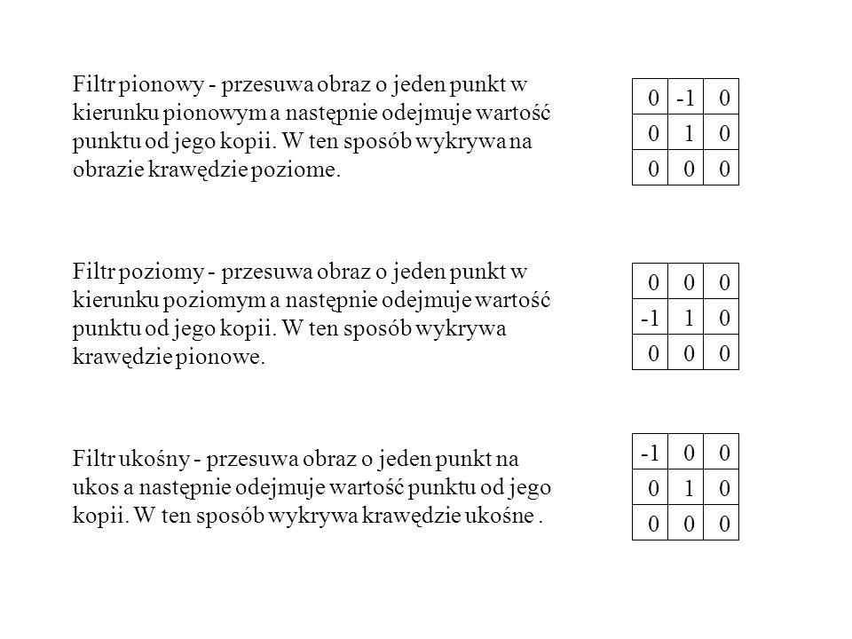 Filtr pionowy - przesuwa obraz o jeden punkt w kierunku pionowym a następnie odejmuje wartość punktu od jego kopii. W ten sposób wykrywa na obrazie kr