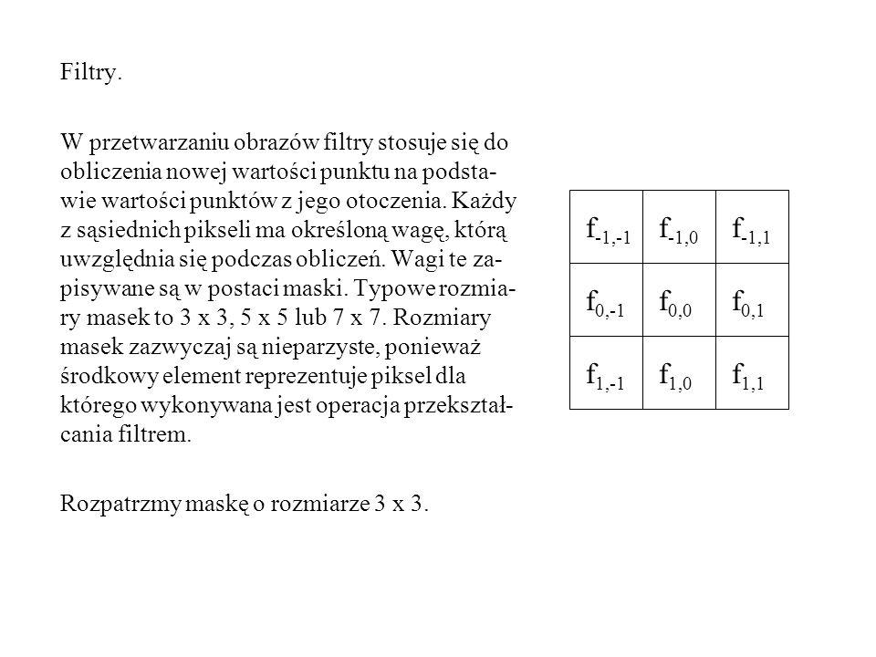Nową wartość składowej punktu o współrzędnych (i, j) obliczamy w następujący sposób.