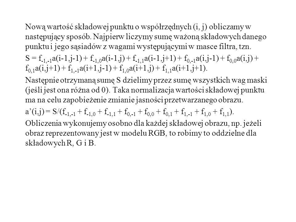 Nową wartość składowej punktu o współrzędnych (i, j) obliczamy w następujący sposób. Najpierw liczymy sumę ważoną składowych danego punktu i jego sąsi