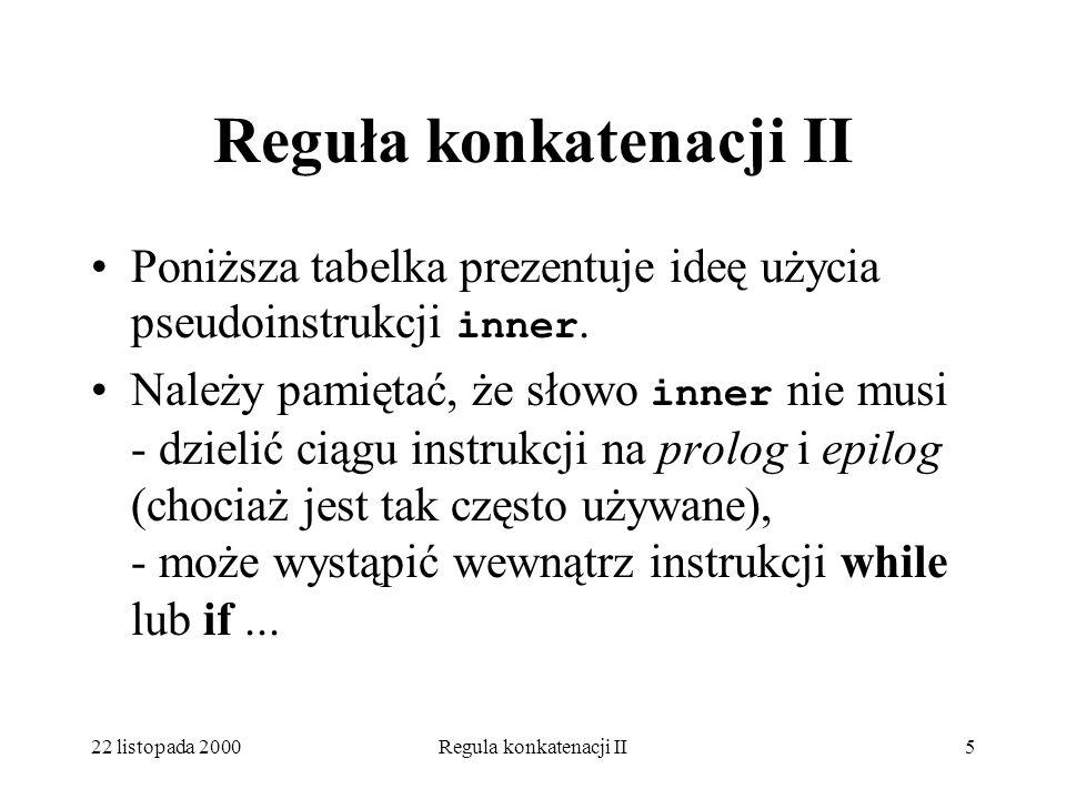 22 listopada 2000Regula konkatenacji II5 Reguła konkatenacji II Poniższa tabelka prezentuje ideę użycia pseudoinstrukcji inner.