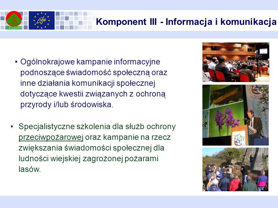 Komponent III - Informacja i komunikacja Ogólnokrajowe kampanie informacyjne podnoszące świadomość społeczną oraz inne działania komunikacji społeczne