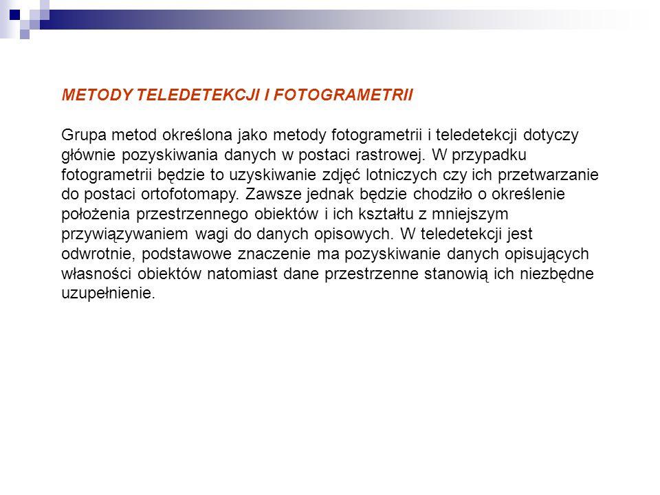 METODY TELEDETEKCJI I FOTOGRAMETRII Grupa metod określona jako metody fotogrametrii i teledetekcji dotyczy głównie pozyskiwania danych w postaci rastrowej.