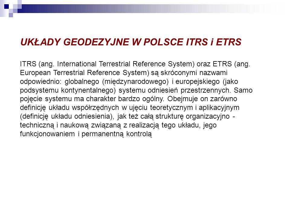 UKŁADY GEODEZYJNE W POLSCE ITRS i ETRS ITRS (ang. International Terrestrial Reference System) oraz ETRS (ang. European Terrestrial Reference System) s