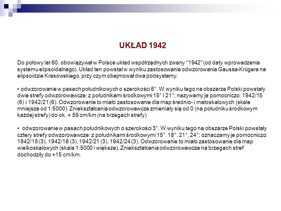 UKŁAD 1942 Do połowy lat 60. obowiązywał w Polsce układ współrzędnych zwany