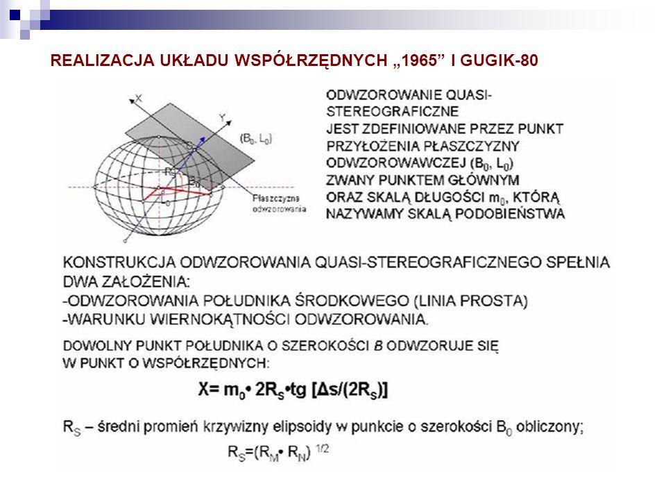 REALIZACJA UKŁADU WSPÓŁRZĘDNYCH 1965 I GUGIK-80