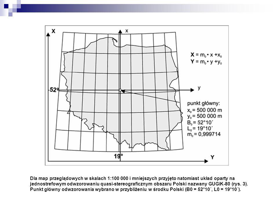 Dla map przeglądowych w skalach 1:100 000 i mniejszych przyjęto natomiast układ oparty na jednostrefowym odwzorowaniu quasi-stereograficznym obszaru P